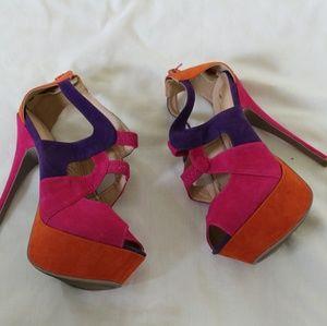 Alba purple orange and pink heels